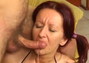 Redhead sister swallows her brother sperm