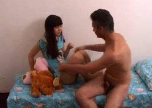 Slim young daughter and incest addicted dad