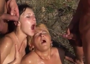 Outdoor incest 4some with mom and daughter