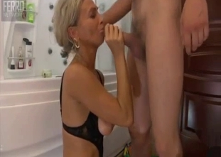 Leggy young sister banged by brother in the bathroom