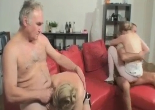 Mom, son, daughter and dad in hardcore incest action