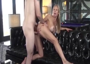 Big boobed blonde reaches orgasm with her brother
