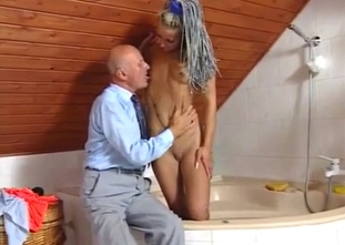 Bald grandpa is trying to seduce his granddaughter