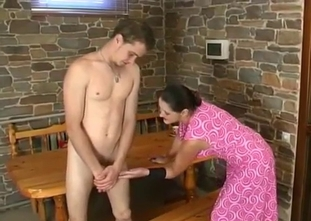 Sister in pink dress sucks her brother dick