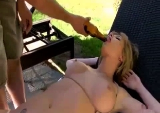 Crazy incest masturbation with a blonde and a bottle