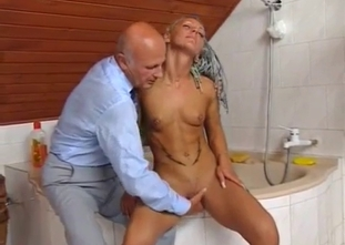 Small tit blonde and her father have fun time