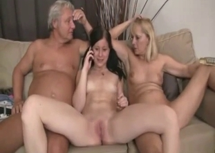 Old dad fucks with his wife and horny daughter