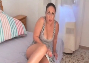 Busty brunette mom sucks son dick on the knees