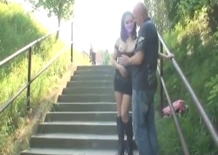 Hot daughter gives outdoor head for a daddy